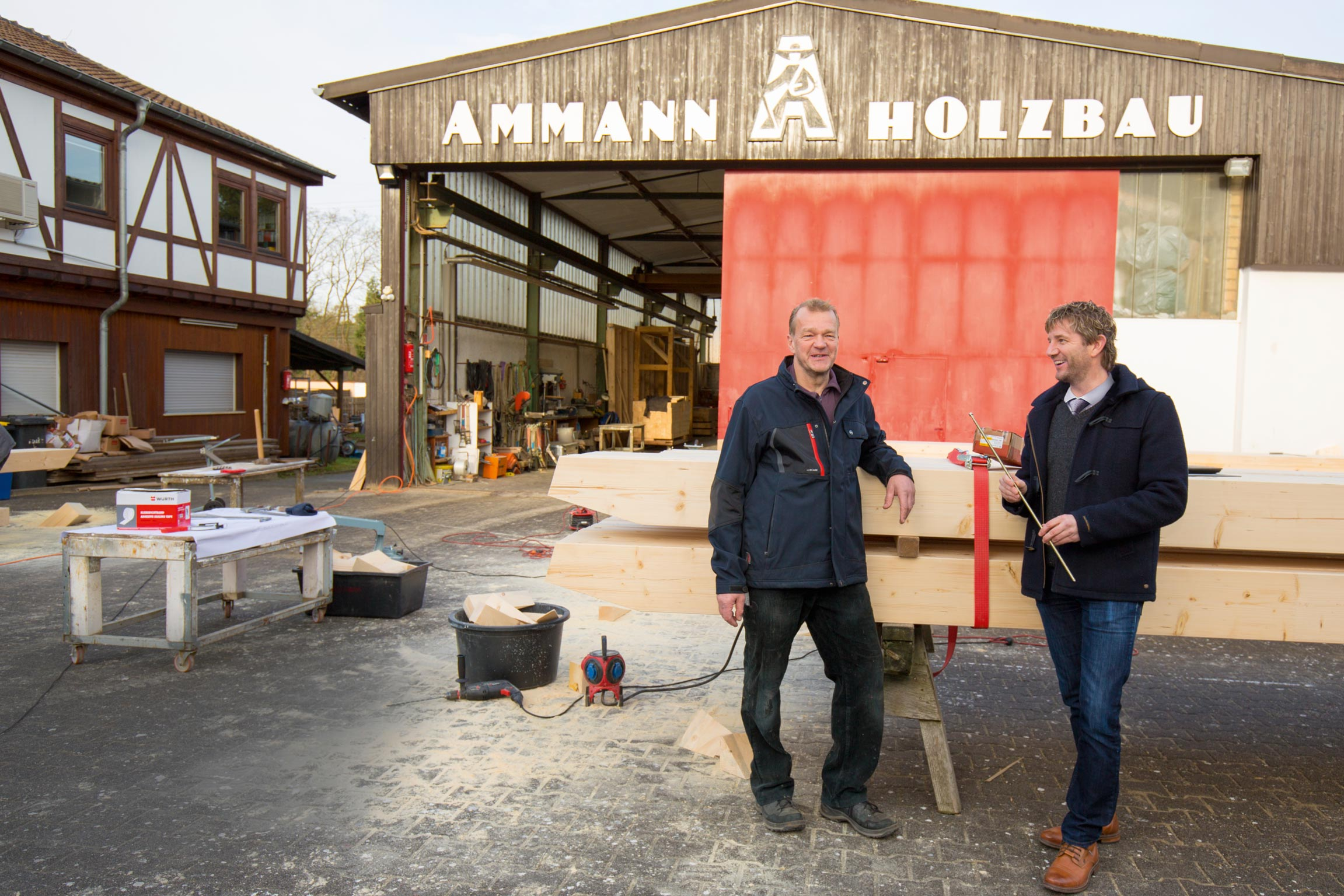 """Growth like a healthy tree,"" is how the185-year-old company Ammann Holzbau describes the history behind the family business. With the quality of its craftsmanship, culminating in the construction of church spires, Ammann demonstrates that wood is one of the most innovative building materials available to us today. Junior manager Michael Ammann (left) is counting on the reliability of Würth as his main supplier, and on the expert advice provided by his sales representative Andreas Mickel. He has been serving his customer for more than 15 years now: A supplier has turned into a partner."